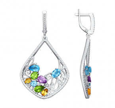 Серьги с полудрагоценными камнями - 92020640